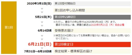 漢検の受検日程