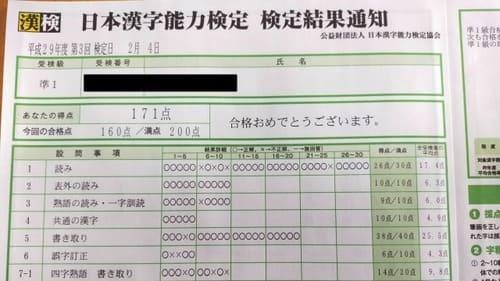 漢検準1級の成績表