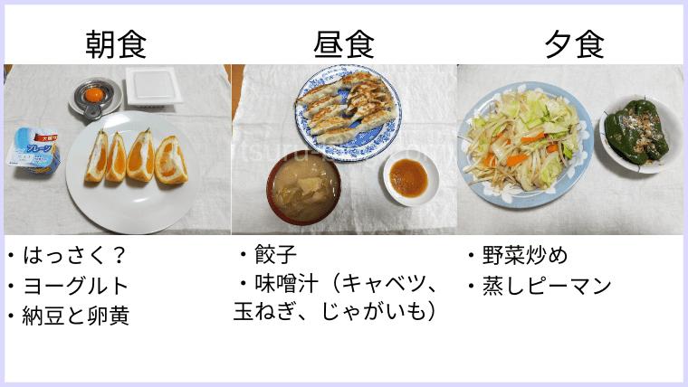 月曜断食の食事(11日目)