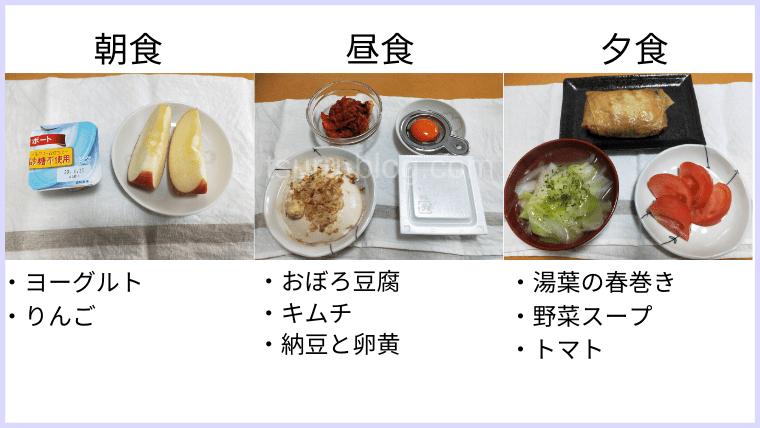 月曜断食の食事(23日目)