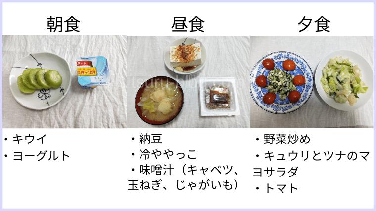 月曜断食の食事(9日目)