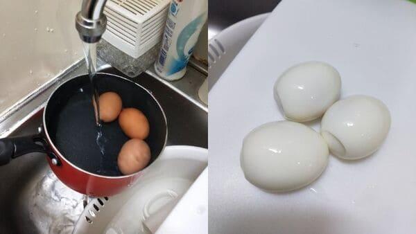 半熟卵の作り方(調理工程)
