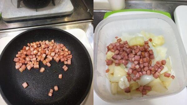 ポテトサラダ(ベーコンを炒める)