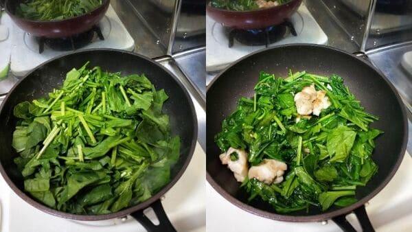 鶏肉とほうれん草のグラタン(調理工程2)