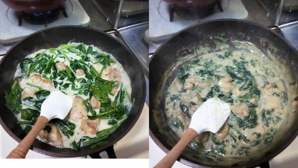 鶏肉とほうれん草のグラタン(調理工程3)